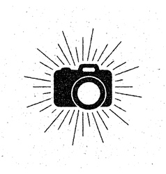 Vintage camera label with light rays vector