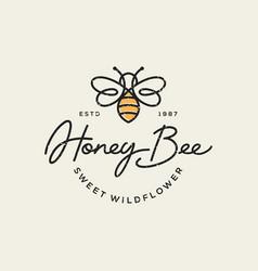 Vintage honey bee logo template vector