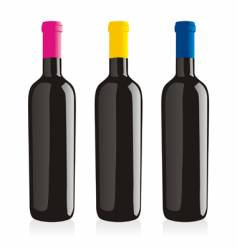 wine bottles set vector image