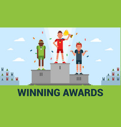 winning awards of a flat vector image