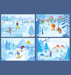 winter christmas holidays of people in parks set vector image