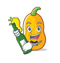 With beer butternut squash mascot cartoon vector