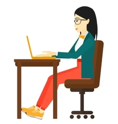 Woman working at laptop vector image