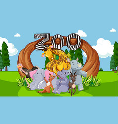 zoo animals in wild nature background vector image