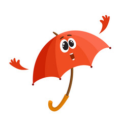 funny smiling umbrella character giving showing vector image