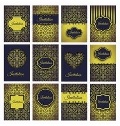 Golden invitations set vector