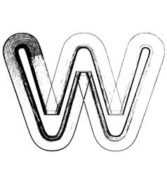 Grunge Font letter w vector image