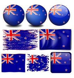 New Zealand flag in different designs vector image