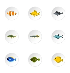 River fish icons set flat style vector image