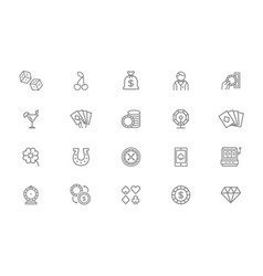 set of gambling and casino line icons dice vector image