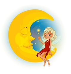 A fairy with a red dress beside the sleeping moon vector