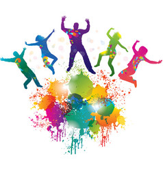 Background with jumping and dancing people vector image