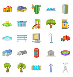 paysage icons set cartoon style vector image vector image