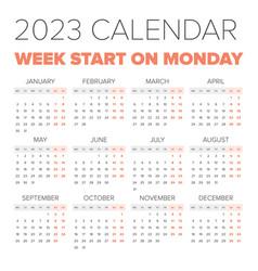 simple 2023 year calendar vector image vector image