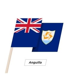 Anguilla Ribbon Waving Flag Isolated on White vector image vector image