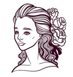 beautiful of a girl and a vector image