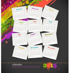 Calendar 2015 with grunge color blots vector image vector image