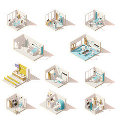 isometric low poly hospital rooms vector image