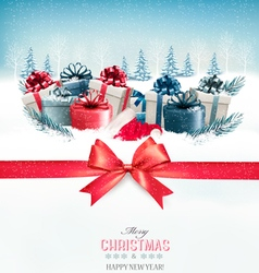 Merry Christmas Background with a red ribbon and vector image