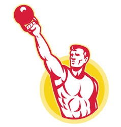Muscle male exercising kettlebell vector