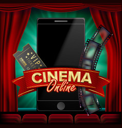 Online cinema poster modern mobile smart vector