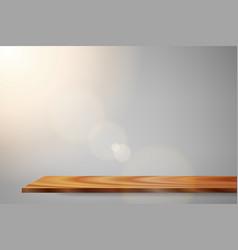 Sunrise lens flare wood shelf vector