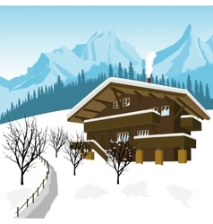 Traditional alpine chalet in the mountains of alps vector