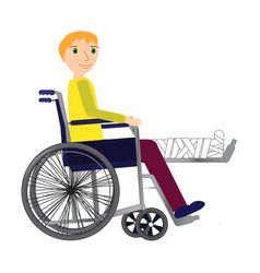 young man in a wheelchair with broken bone vector image vector image