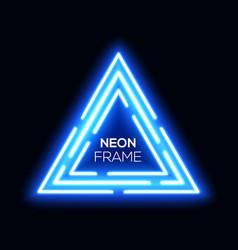 blue neon light triangles shining techno frame vector image
