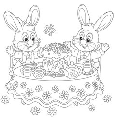 bunnies with an easter cake vector image