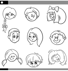children heads characters set vector image
