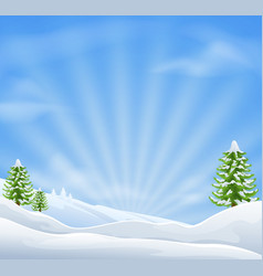 christmas snow landscape background vector image