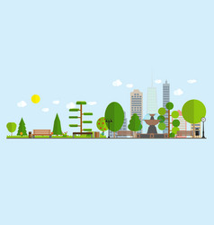 flat cartoon style of urban landscape vector image