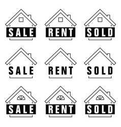 home set sold icon in black and white color vector image vector image