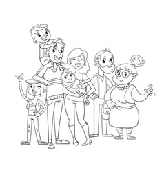 my big family posing together coloring book vector image vector image