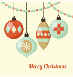 retro christmas card with hanging christmas balls vector image vector image