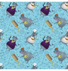 Seamless rats artist cook and singer vector image vector image