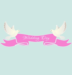 White dove with pink ribbon vector image vector image