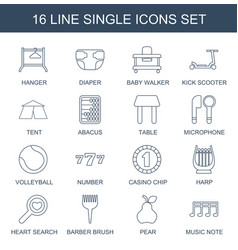 16 single icons vector image
