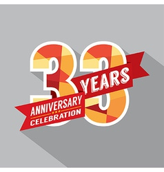 33rd Years Anniversary Celebration Design vector image