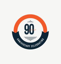 90 th anniversary celebrations retro orange vector