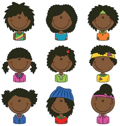 African-American girls avatar vector image
