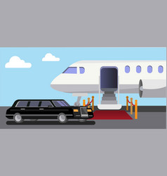 Airplane limousine car red carpet vector