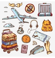 Airport and air travel icons concept traveling on vector