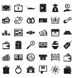Amount of money icons set simple style vector