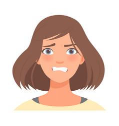 Anger on face a cute girl vector