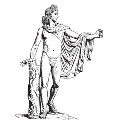 Apollo of the belvedere is a front view of statue vector