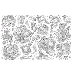 Art and paint materials doodles hand drawn vector
