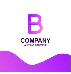 b company logo design with purple theme vector image