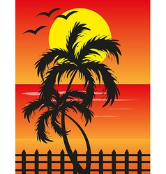 Beach sunset background vector
